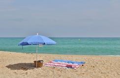 Alla spiaggia nel ` Estrac di Caldes d, la Spagna Immagini Stock