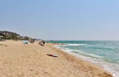 Alla spiaggia nel ` Estrac di Caldes d, la Spagna Fotografia Stock
