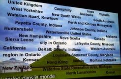 Alla städer av Waterloo i världen royaltyfria foton