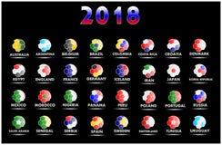 Alla världsfotbollslag som konkurrerar i 2018 inklusive Ryssland med en svart bakgrund royaltyfri illustrationer