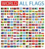 Alla världsvektorflaggor 210 objekt Arkivfoto