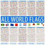 Alla v?rldsflaggor - st?ll in av olika stilar Plana symboler f?r vektor royaltyfri foto