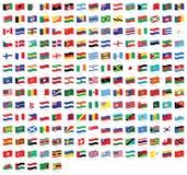 Alla vinkande flaggor för nationell värld med namn - högkvalitativ vektorflagga som isoleras på vit bakgrund stock illustrationer