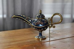 Alladins Genie Lamp. Shot of a handmade lamp, similar to Alladins stock photos