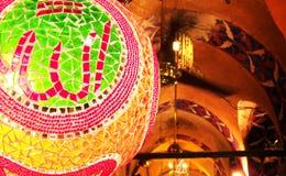 Allah written Turkish Glass Mosaic Lamp. Inside Old Ottoman Bazaar Stock Photos