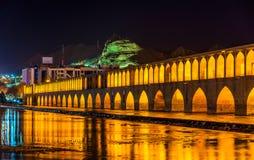 Allahverdi Khan Bridge (Si-O pol.) in Isphahan royalty-vrije stock fotografie