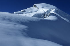 Allalinhorn. Summit of Allalinhorn, a four-thousand metre peak, in the Swiss Alps stock images