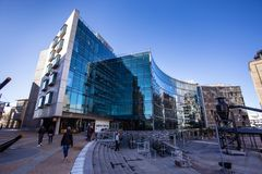 Allan Grey building in Cape Town. Cape Town, South Africa, 12th April - 2019: Office building with glass facade in tourist area royalty free stock photo