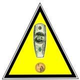 Allarme dei soldi. Dollari americani come segno di esclamazione Immagine Stock