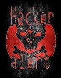 Allarme del pirata informatico con il cranio Fotografia Stock Libera da Diritti