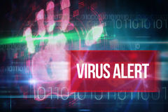 Allarme del virus contro progettazione blu di tecnologia con il codice binario Fotografia Stock