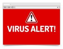 Allarme del virus sulla finestra di browser aperta di Internet con ombra Immagini Stock Libere da Diritti