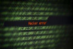 Allarme inciso di dati di numero di codice binario di tecnologie informatiche! Errore del pirata informatico sullo schermo di vis immagini stock