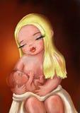 allattamento al seno sveglio dell'illustrazione del ‹del †Fotografia Stock