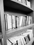 Alldeles av böcker på en hylla arkivbild