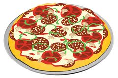 alldressed pizza stock illustrationer