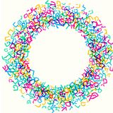 Alle brieven van Hebreeuws alfabet, Joods ABC-patroon, ronde kaderkroon, vector illustratie