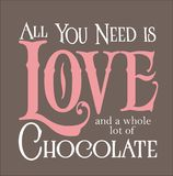 Alle, die Sie benötigen, ist Liebe und Schokolade Stockfoto