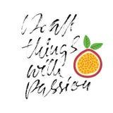 alle dingen met hartstocht De druk van het kalligrafiecitaat Vector illustratie Het van letters voorzien motivatieuitdrukking Doe stock illustratie