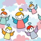 Alle Elemente und Beschaffenheiten sind einzelne Nachrichten Nahtloser Hintergrund mit Engeln Nette Karikatur stock abbildung