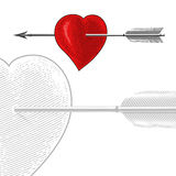 Weinlese-Herz mit Pfeil in der Stichart Stockbild