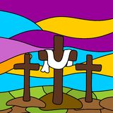 Alle EPS8, zerteilt geschlossen, Möglichkeit, um zu bearbeiten Drei Kreuze auf Kalvarienberg lizenzfreie abbildung