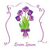 Alle EPS8, zerteilt geschlossen, Möglichkeit, um zu bearbeiten Purpurrote Tulpen mit einem purpurroten Bogen Stockbilder