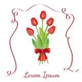 Alle EPS8, zerteilt geschlossen, Möglichkeit, um zu bearbeiten Rote Tulpen mit einem roten Bogen Lizenzfreie Stockbilder