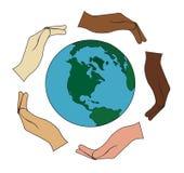 Alle handen die de wereld houden Stock Fotografie