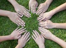 Alle handen samen Royalty-vrije Stock Fotografie