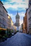 Alle Heilige ` Kirche mit der Tür mit den 95 Thesen durch Marting Luther in Wiittenberg, Deutschland Lizenzfreies Stockfoto
