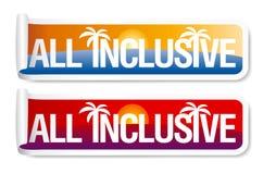 Alle inclusieve etiketten. Royalty-vrije Stock Foto's