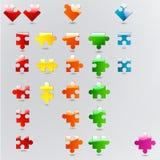 Alle mogelijke vormen van raadselstukken in verschillende kleuren Stock Foto's