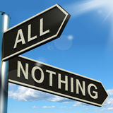 Alle oder nichts Signpost-Bedeutung voll lizenzfreie abbildung