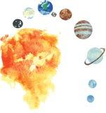 Alle Planeten des Sonnensystems, von Hand gezeichnetes Aquarell - S Stockfotografie