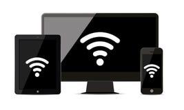 Alle realistischen elektronischen Geräte werden durch WiFi miteinander angeschlossen vektor abbildung