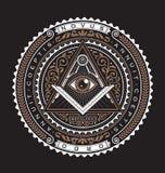 Alle sehende Farbe des Augen-Emblem-Ausweis-Vektor-Logo-2 stock abbildung