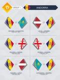 Alle spelen van Andorra in de liga van voetbalnaties royalty-vrije illustratie