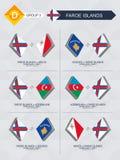 Alle spelen van de Faeröer in de liga van voetbalnaties stock illustratie