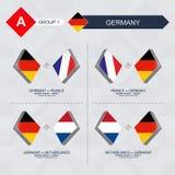 Alle spelen van Duitsland in de liga van voetbalnaties stock illustratie