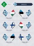 Alle spelen van Griekenland in de liga van voetbalnaties vector illustratie