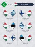Alle spelen van Hongarije in de liga van voetbalnaties royalty-vrije illustratie