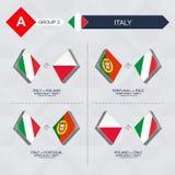Alle spelen van Italië in de liga van voetbalnaties stock illustratie