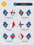 Alle spelen van Kosovo in de liga van voetbalnaties royalty-vrije illustratie