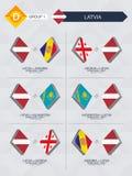 Alle spelen van Letland in de liga van voetbalnaties stock illustratie