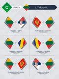 Alle spelen van Litouwen in de liga van voetbalnaties royalty-vrije illustratie