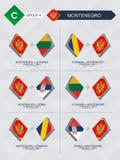 Alle spelen van Montenegro in de liga van voetbalnaties royalty-vrije illustratie