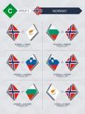 Alle spelen van Noorwegen in de liga van voetbalnaties stock illustratie