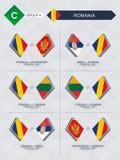 Alle spelen van Roemenië in de liga van voetbalnaties stock illustratie