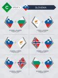 Alle spelen van Slovenië in de liga van voetbalnaties vector illustratie